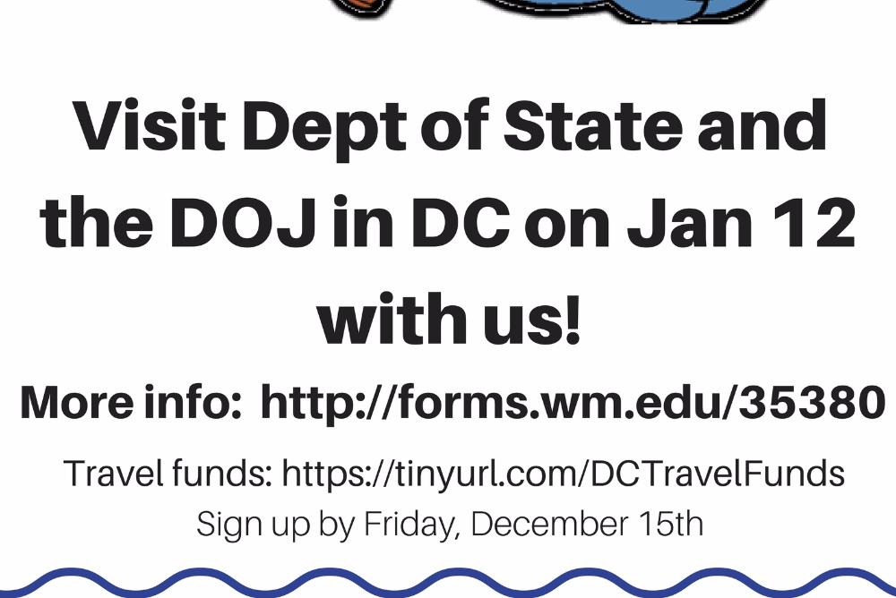 Bored during winter break? Visit Dept of State in DC on Jan 12 with us. Deadline: Fri, Dec 15th