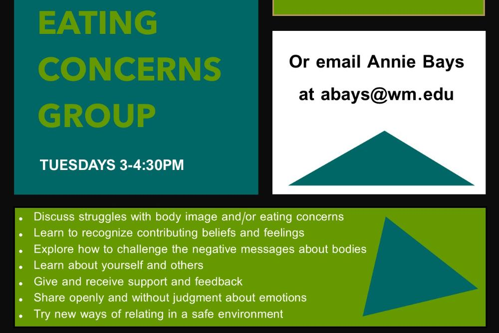 Eating Concerns Therapy Group Flyer