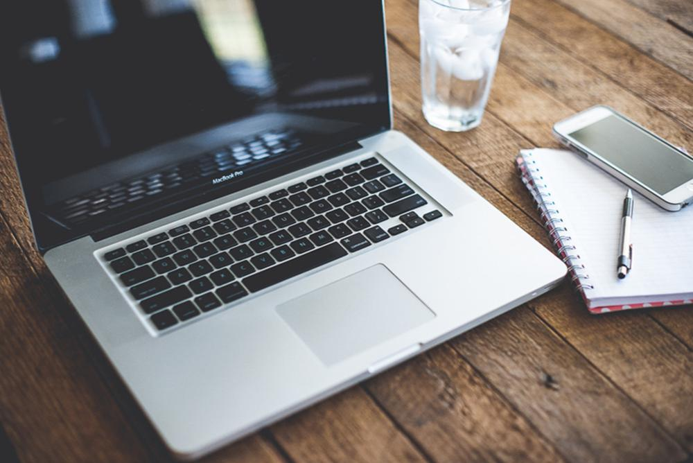 laptop, computer, phone, notepad