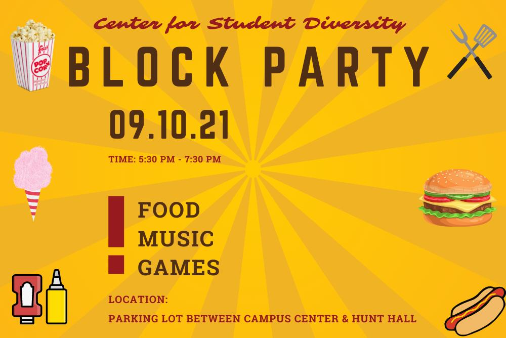 Yellow Flyer with information for CSD Block Party.
