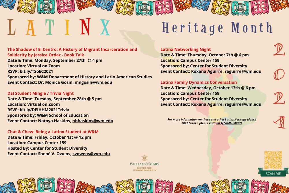 Colorful Flyer with Latinx Heritage Month events