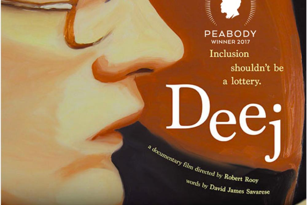 [The movie poster for Deej: Inclusion Shouldn't Be a Lottery.  The poster features a white masculine