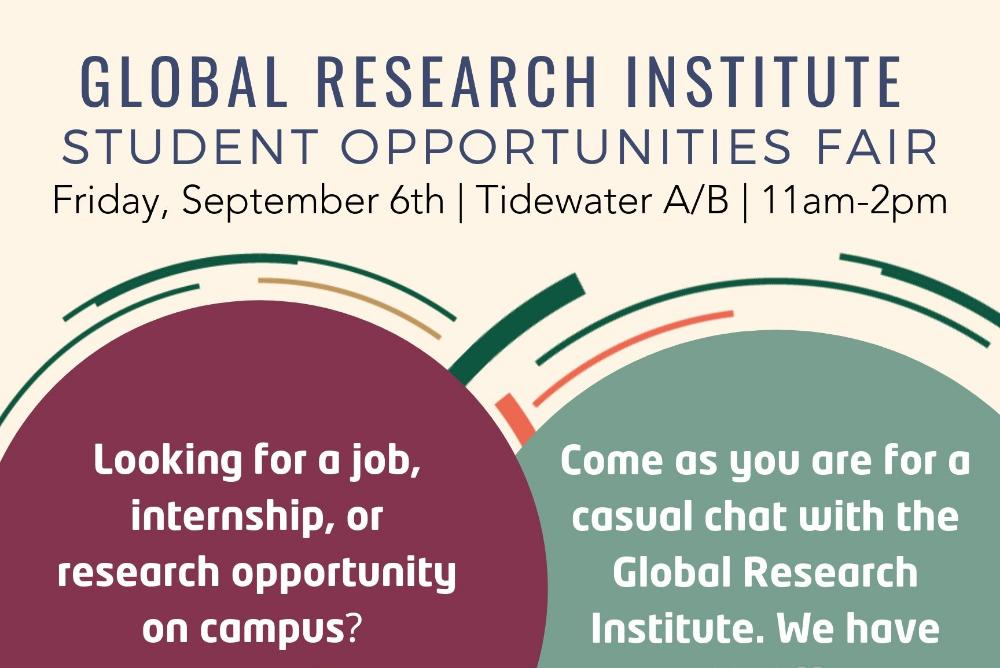 Global Research Institute Opportunities Fair. Friday, September 6th, Tidewater A/B from 11am-2pm. Looking for a job, internship, or research opportunity on campus? Come as you are to the fair!