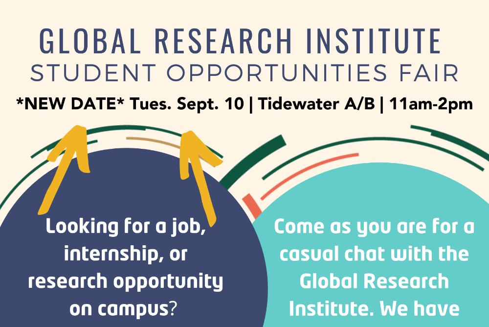 Student Opportunities Fair On Tuesday Sept 10 from 11am-2pm in Tidewater A