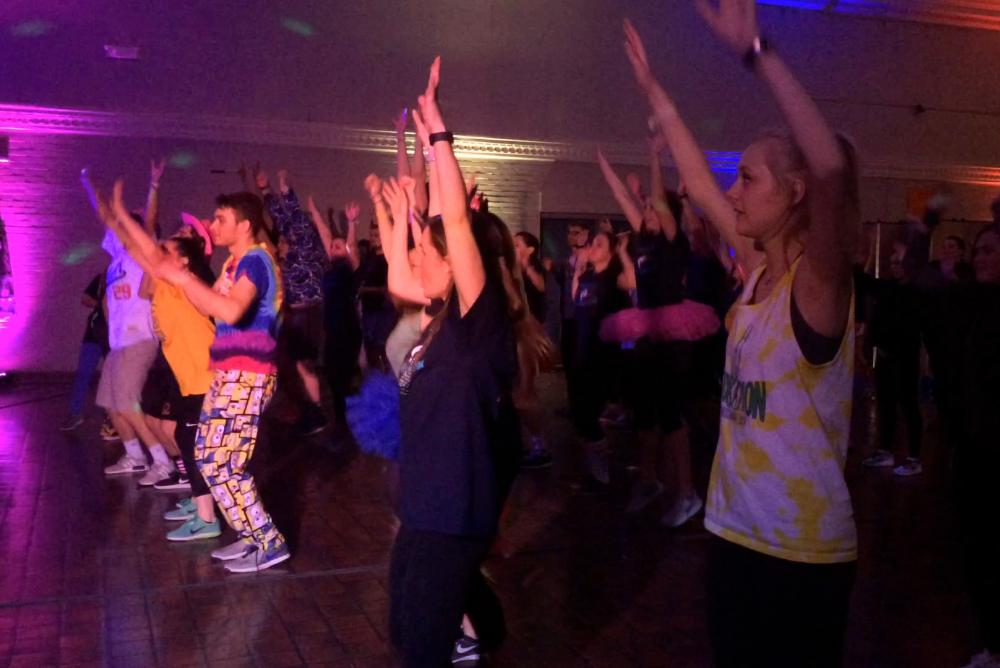 Dancers at last year's TribeThon Dance Marathon doing the Morale dance!