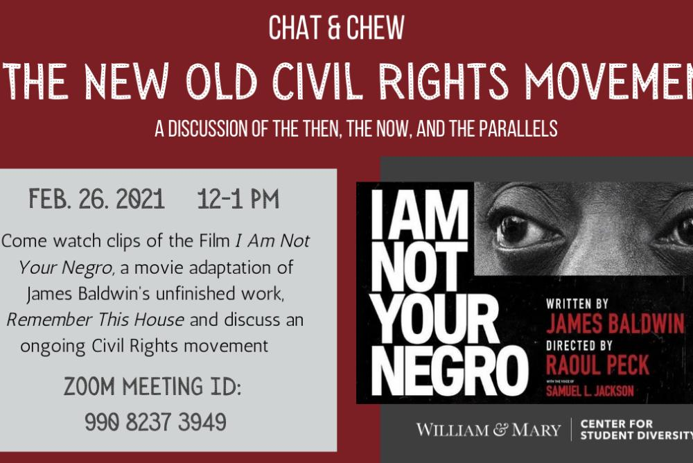 Come and watch clips of the film I Am Not Your Negro, a movie adaptation of James Baldwin's unfinished work, Remember This House and discuss an ongoing Civil Rights movement.