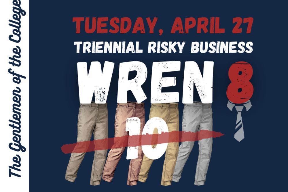 Event Flyer - Gentlemen of the College Wren Ten Concert (8pm Tuesday, April 27)