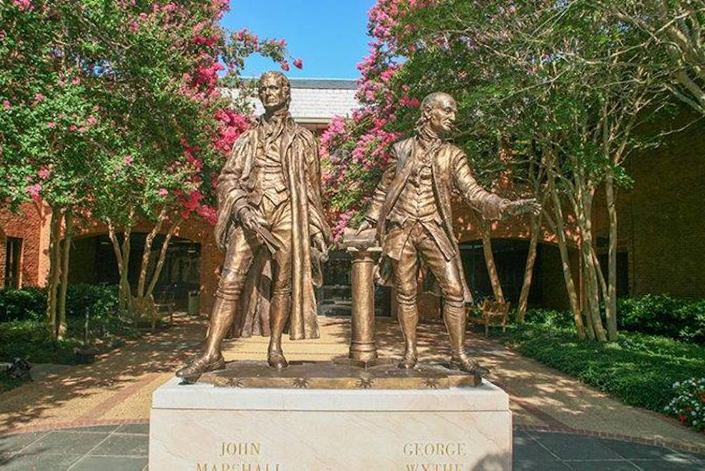 Statues in front of William & Mary Law School