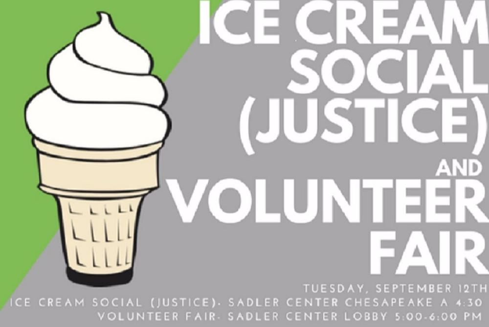 Ice  Cream Social (Justice) and Volunteer Fair Flyer