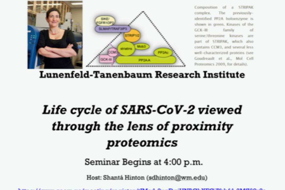 Seminar Flyer for Biology Seminar - Dr. Anne-Claude Gingas - Life cycle of SARS-CoV-2 viewed through the lens of proximity proteomics