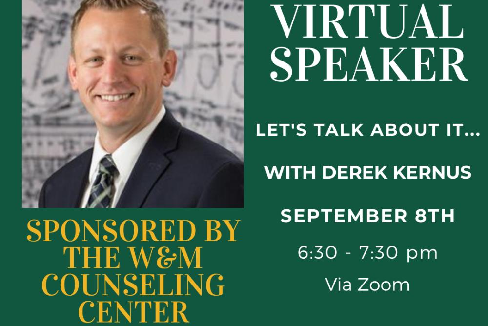 Join us via Zoom as Derek Kernus talks about his experiences with suicide and depression.