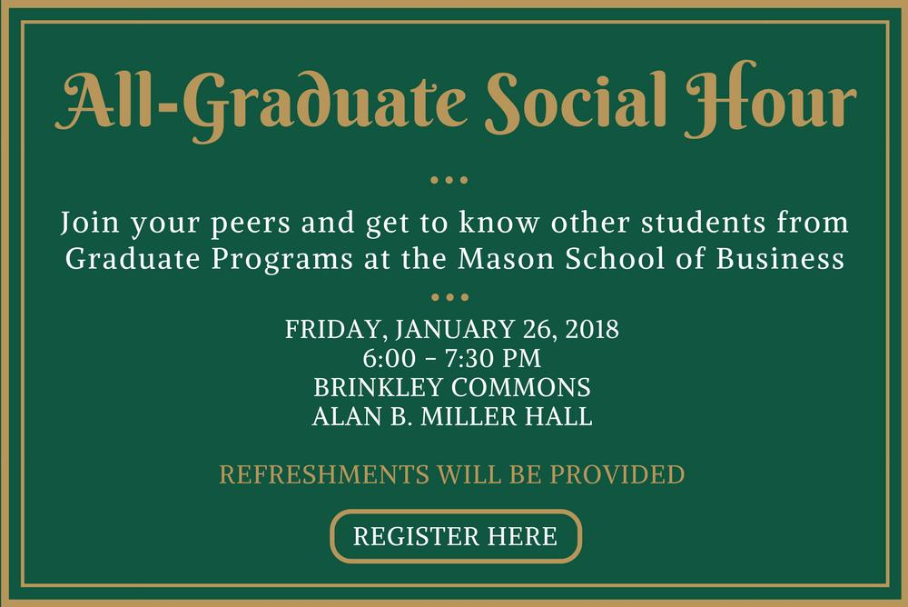 all-graduate, Williamsburg, social hour, networking