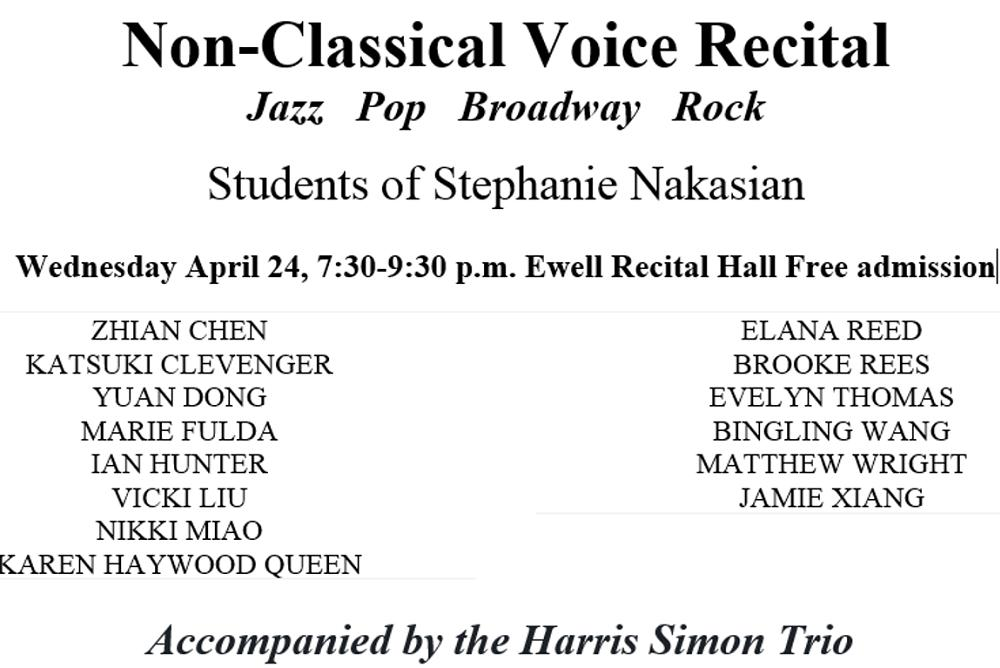 Non Classical Voice Recital