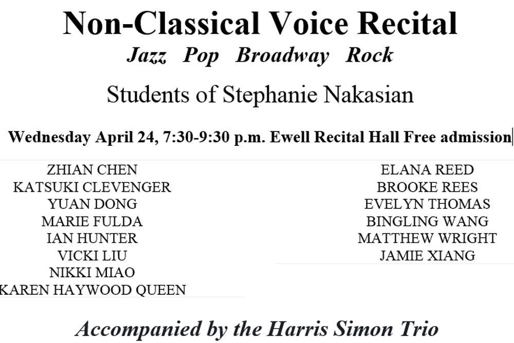 Non Classical Voice Recital