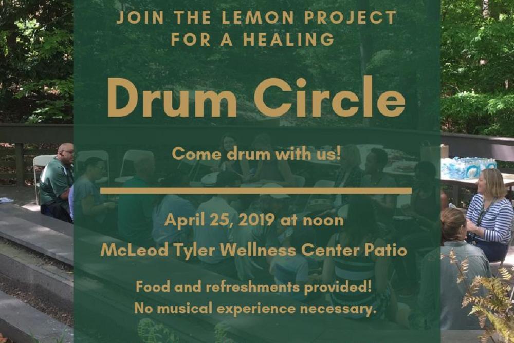 healing Drum Circle at the McLeod Tyler Wellness Center Patio.