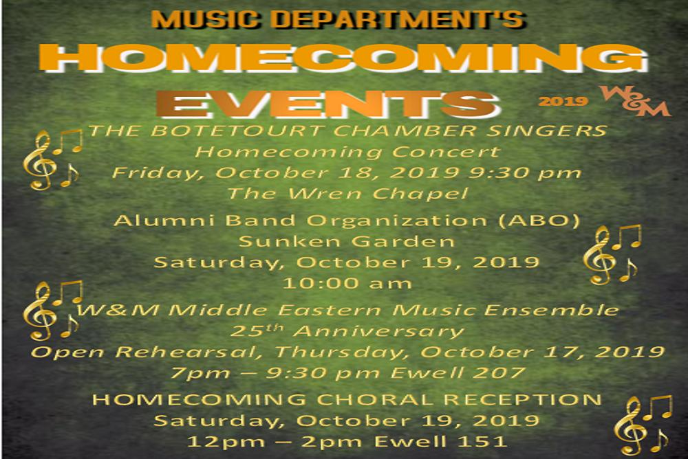 Music Department's Homecoming 2019 Events
