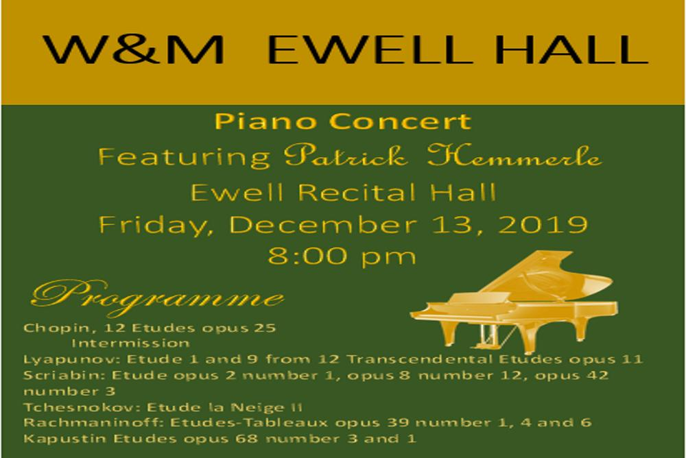 Piano Concert Friday, December 13, 2019 featuring Patrick Hemmerlé at 8:30 pm