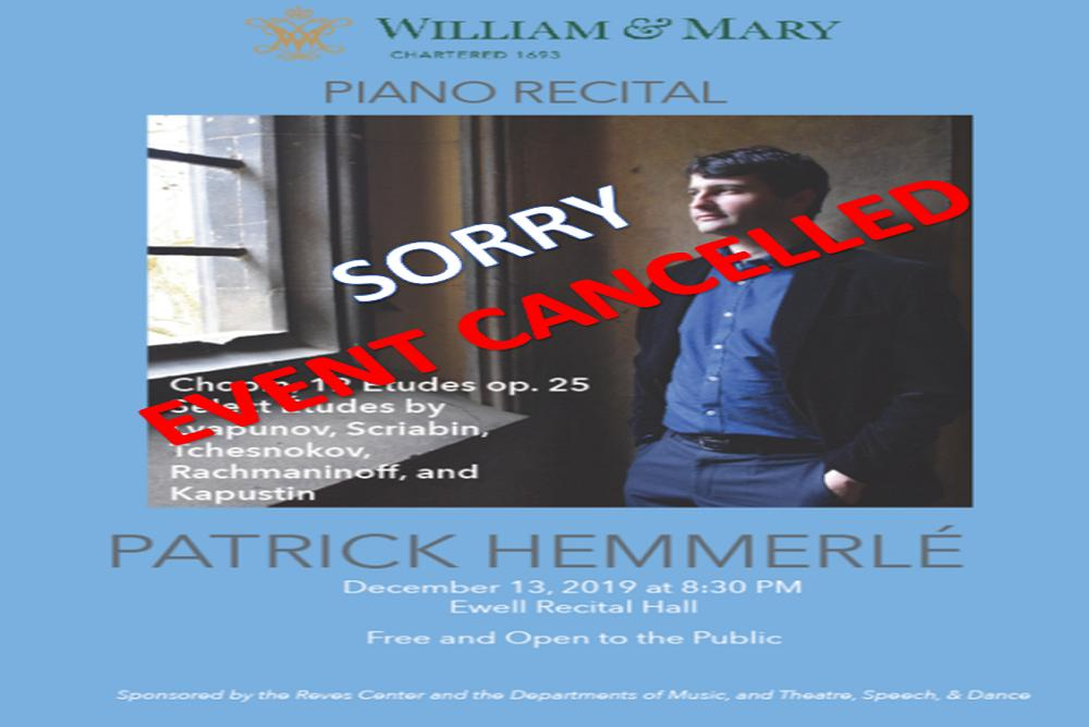 Hemmerle Concert is cancelled