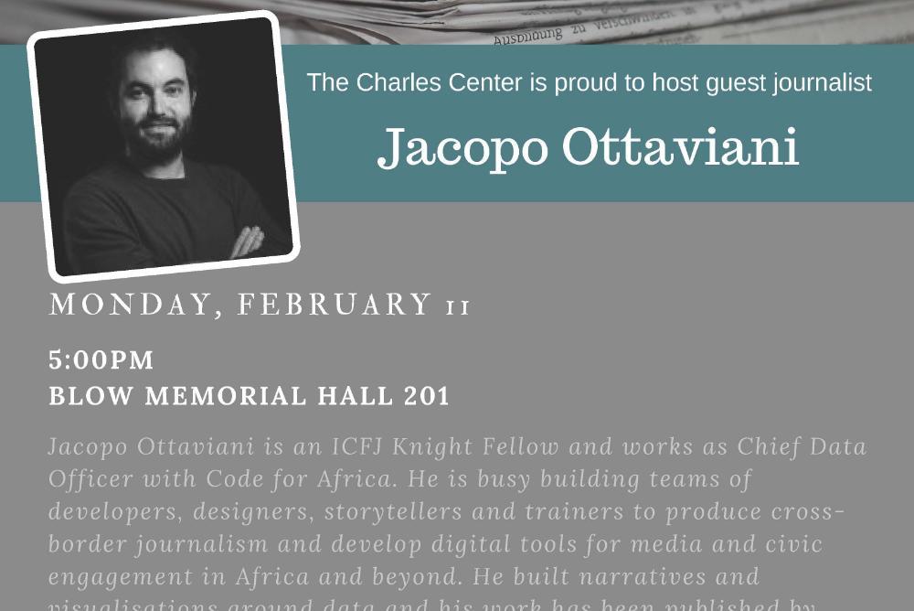 Lecture: Pulitzer Center grantee Jacopo Ottaviani
