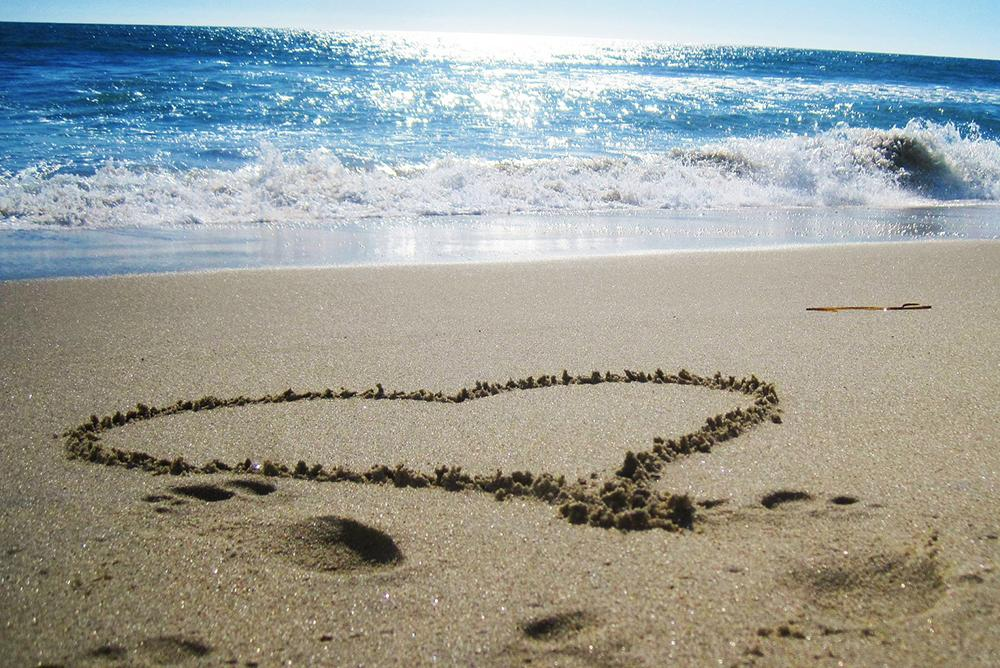 Heart on a beach.