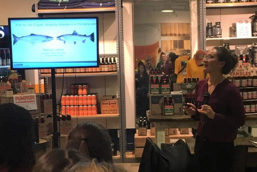 VIMS graduate student Malina Loeher presents her research at the November 2019 SWIB event. Photo by Candice Vinson.