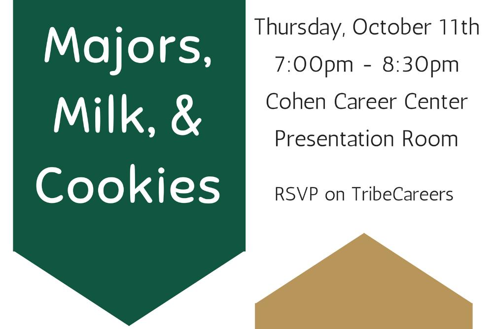 Come to the Cohen Career Center for information on majors and delicious desserts!
