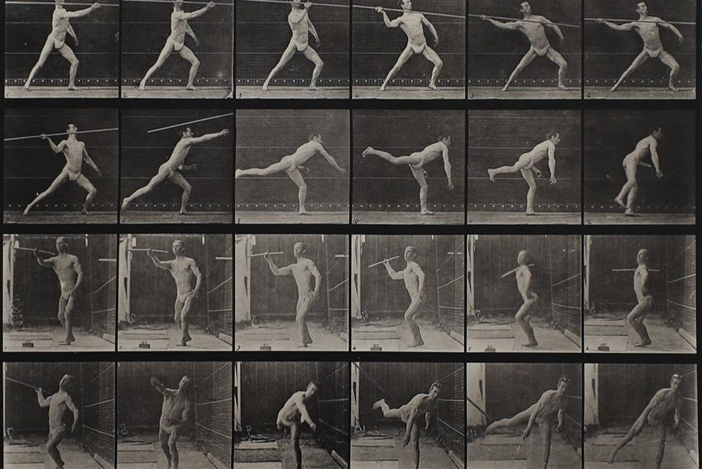 EADWEARD MUYBRIDGE, English, 1830 – 1904 , Throwing a spear, 1887 , Animal Locomotion, Vol. V: Males , Collotype, Gift of Joseph C. French, Jr. to Muscarelle Museum of Art