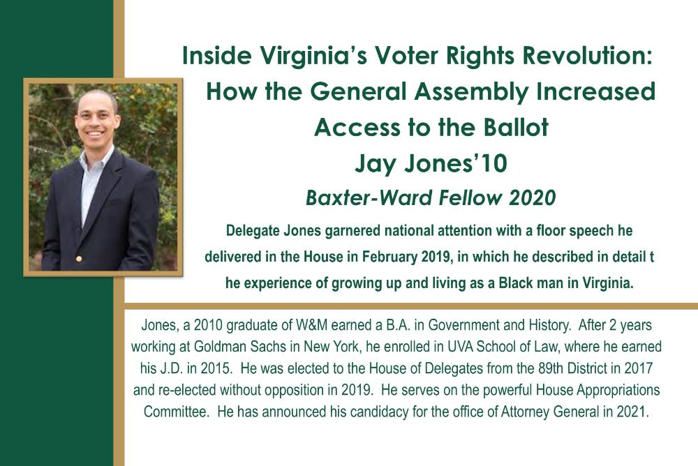 Lecture flyer for Jay Jones '10 Baxter-Ward Fellow Zoom event on October 29 at 7 pm