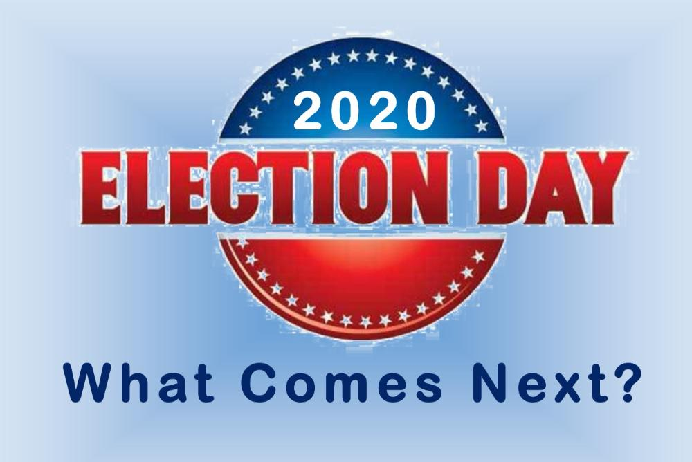 Clip art image stating 2020 Election Day, What Comes Next?