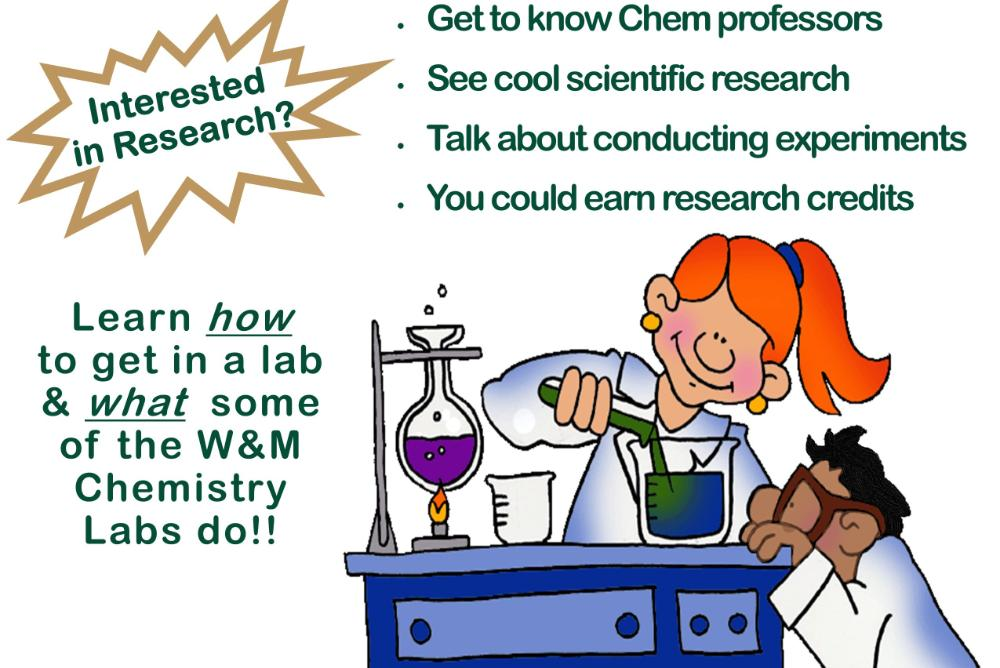 Event flyer depicting chemistry experiment conducted by 2 researchers.