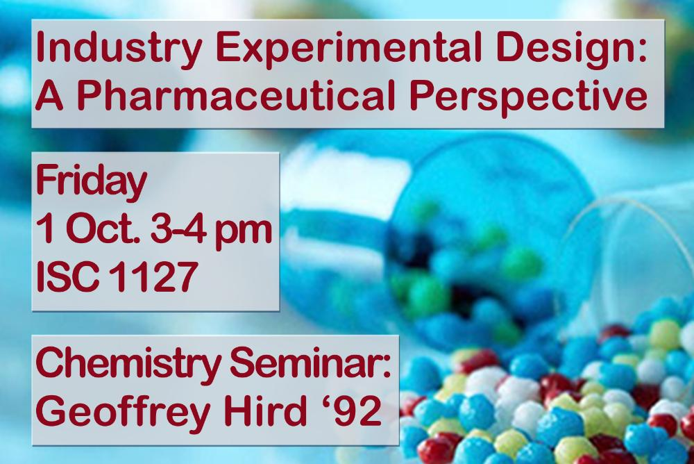 Image of pill capsule with text detailing chemistry seminar title, speaker and date