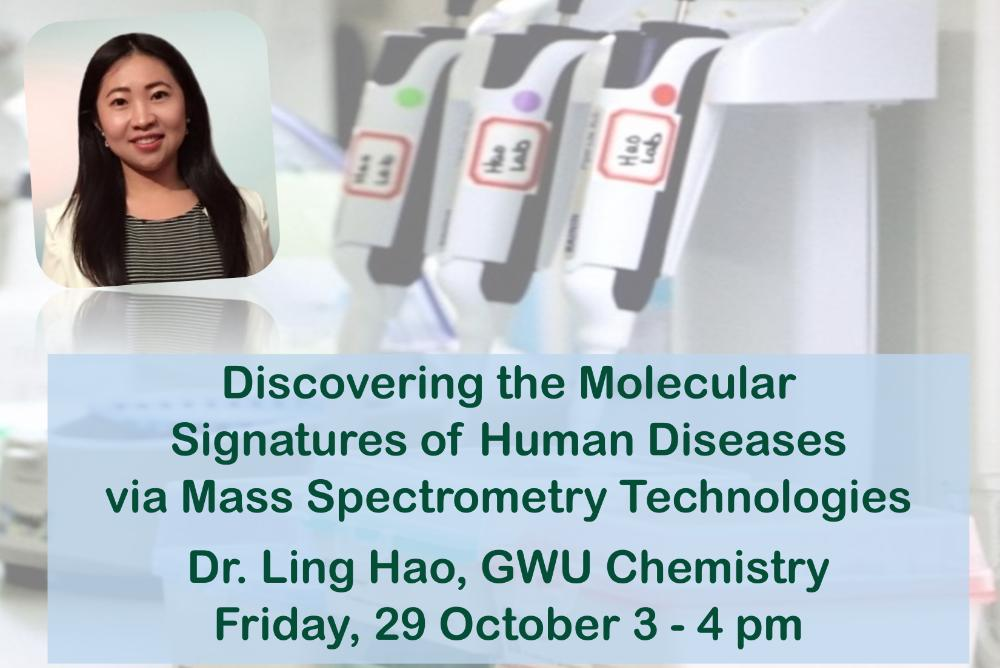 Dr Hao's picture with scientific equipment and title of seminar