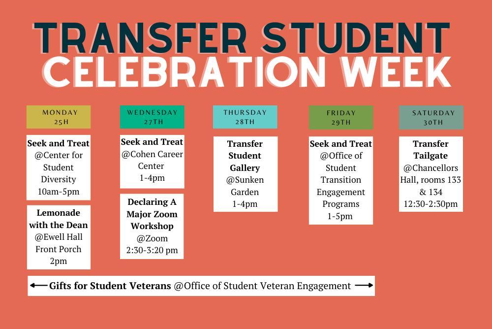 Transfer student celebration week calendar
