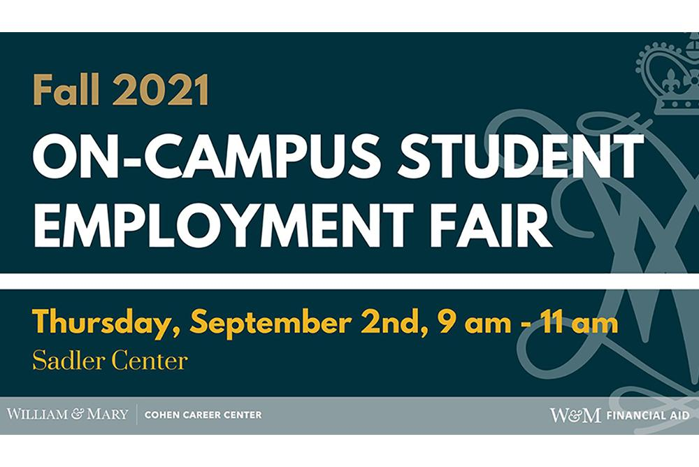 on-campus student employer fair hosted by the Cohen Career Center and Financial Aid Office