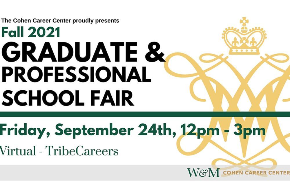 Graduate & Professional School Fair, Friday, September 24, from 12:00-3:00 p.m.