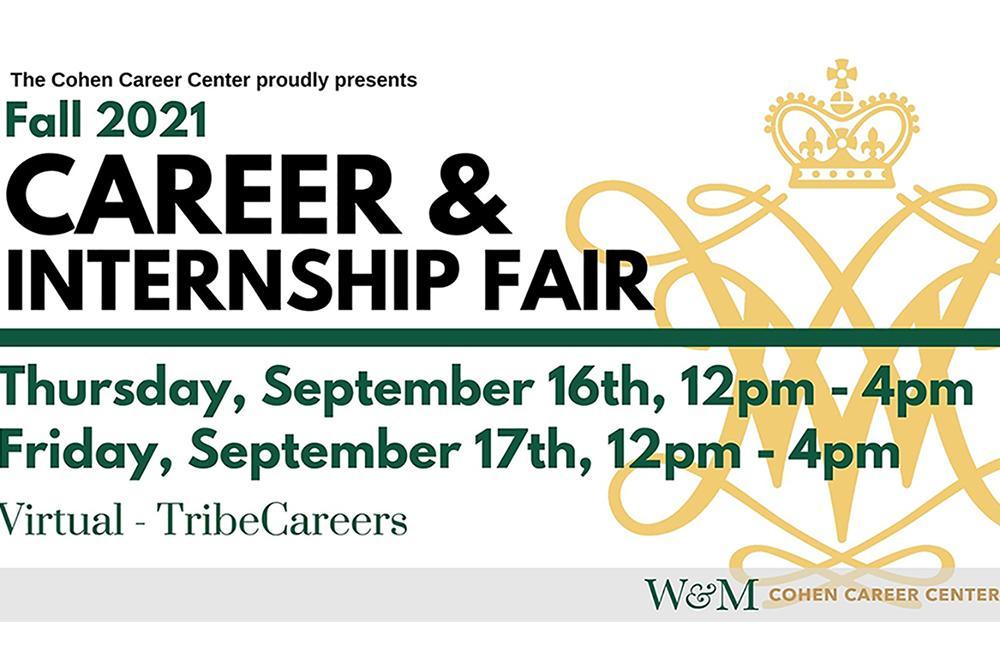 Career & Internship Fair Day 2, Friday, September 17, from 12:00-4:00 p.m.
