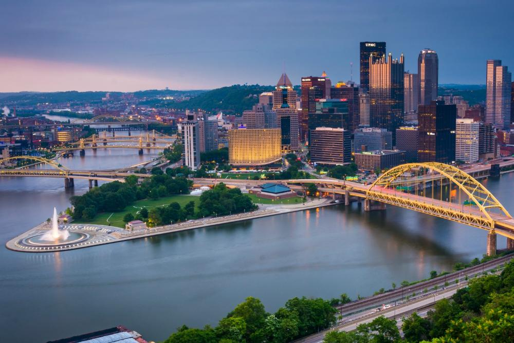 Pittsburgh, skyline, bridge, water,