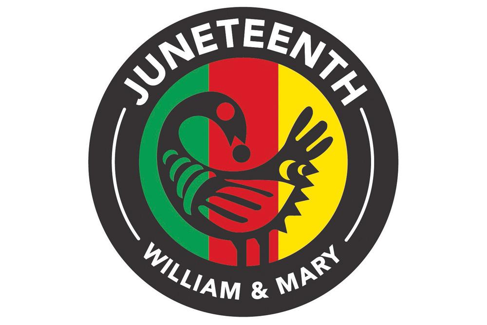 A graphic shows a circle outlined in black with Juneteenth William & Mary written on it, and the image of a bird and green, red and yellow lines within the circle