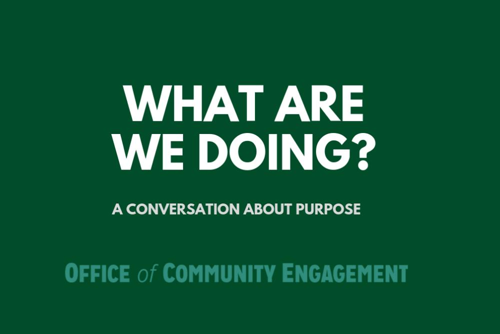 What are we doing? A conversation about purpose