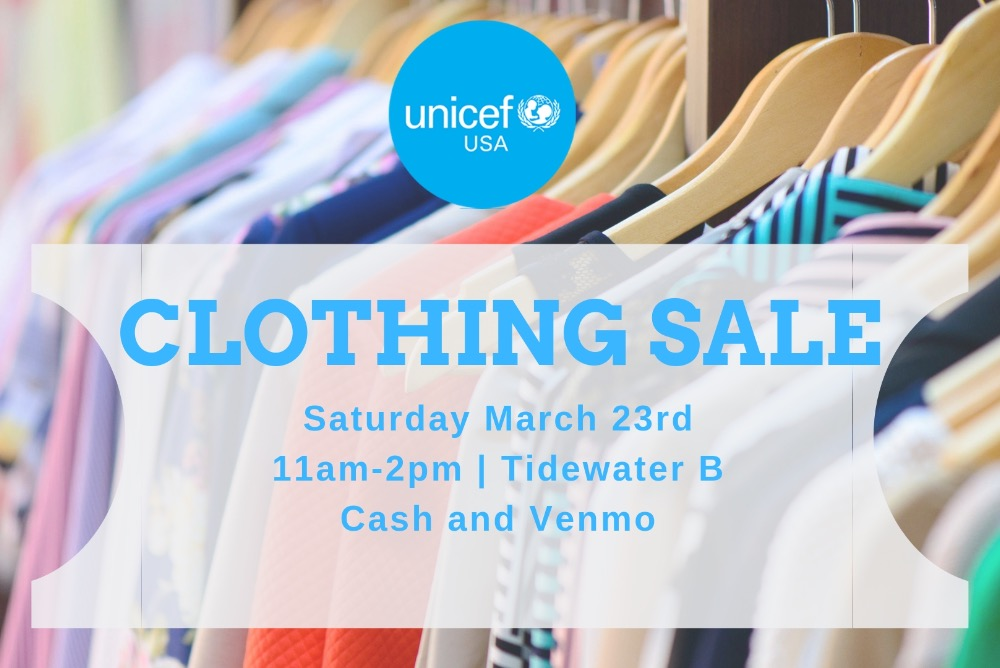 Promotional Flyer for the Clothing Sale with the details of the event: Saturday, March 23rd from 11am-2pm in Tidewater B. Cash and Vemno.