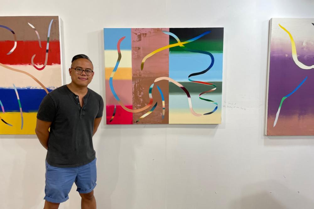 Roberto Jamora, Asian Centennial Distinguished Fine Arts Fellow,  pictured here with his piece