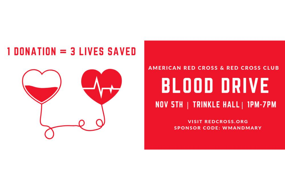 Our next blood drive is Tuesday, November 5th from 1:00-7:00pm in Trinkle Hall!