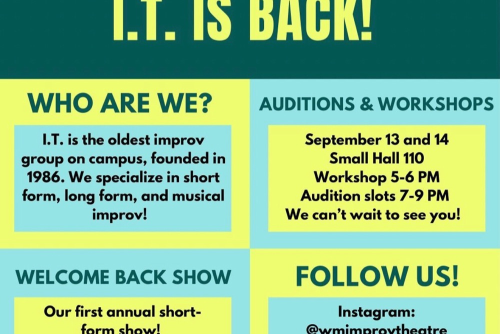Graphic displaying information regarding the upcoming I.T. Show as well as workshops and auditions
