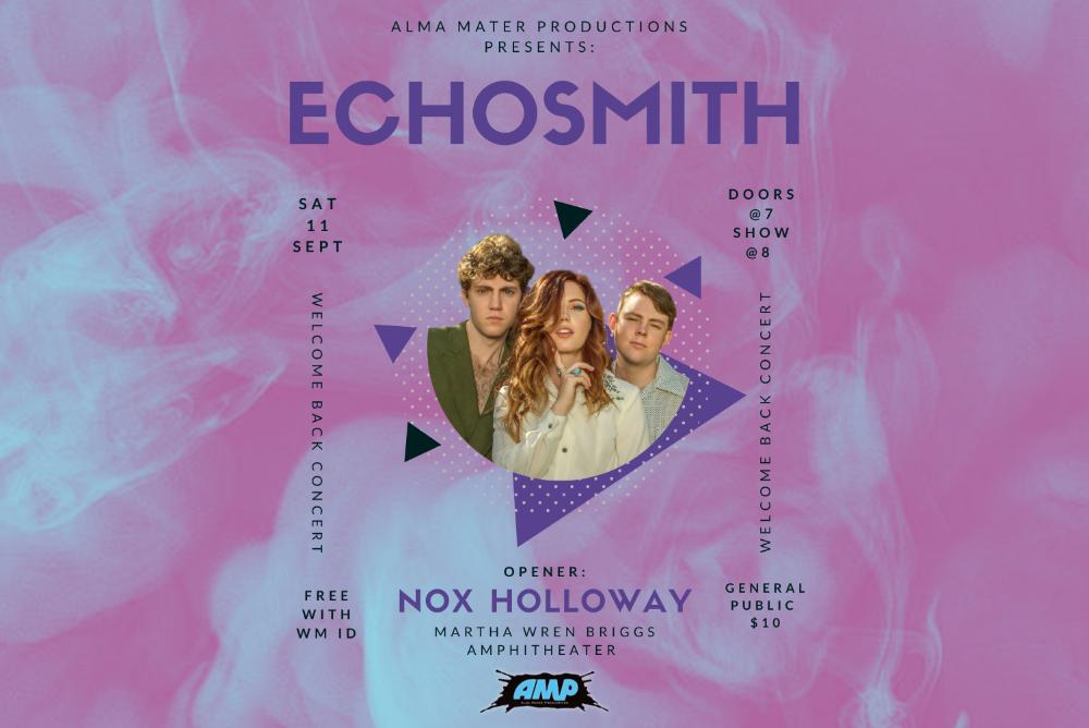 Picture of the band Echosmith with event details and a purple background