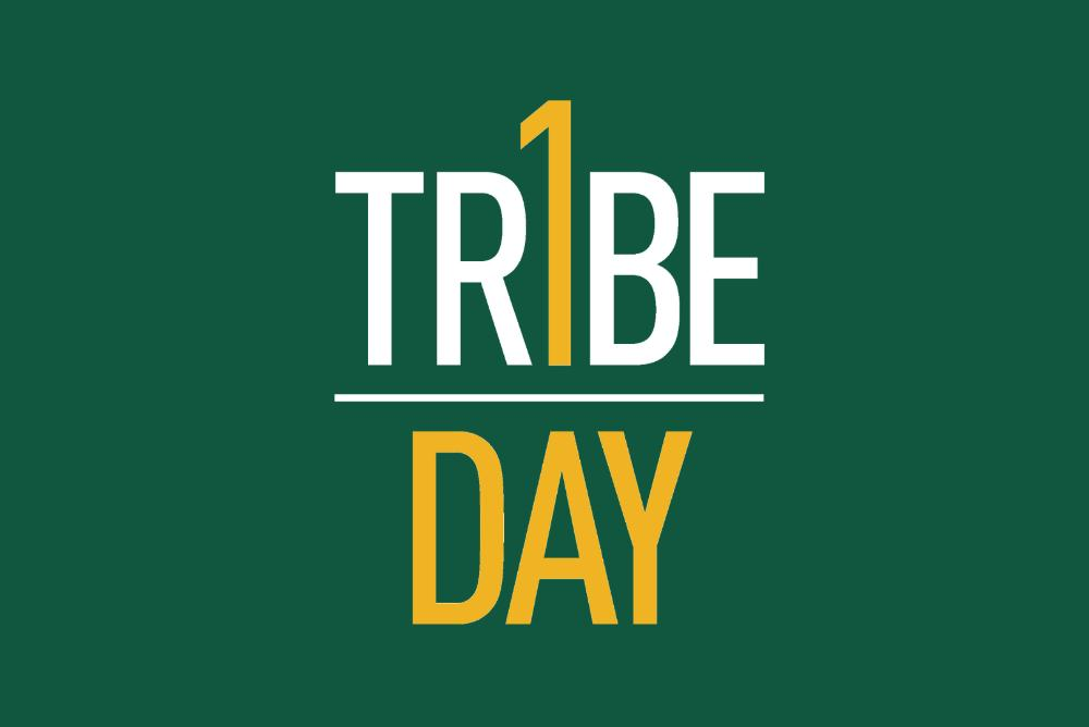 One Tribe One Day logo on a  W&M green background