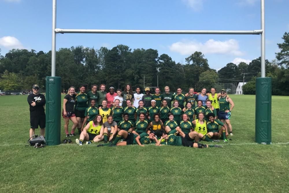 The Women's Rugby team after winning 100-0 against VCU in September.