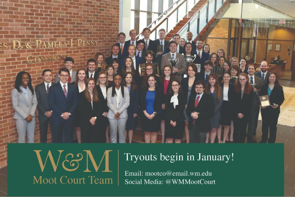 Picture of the team standing in the law school with text that reads