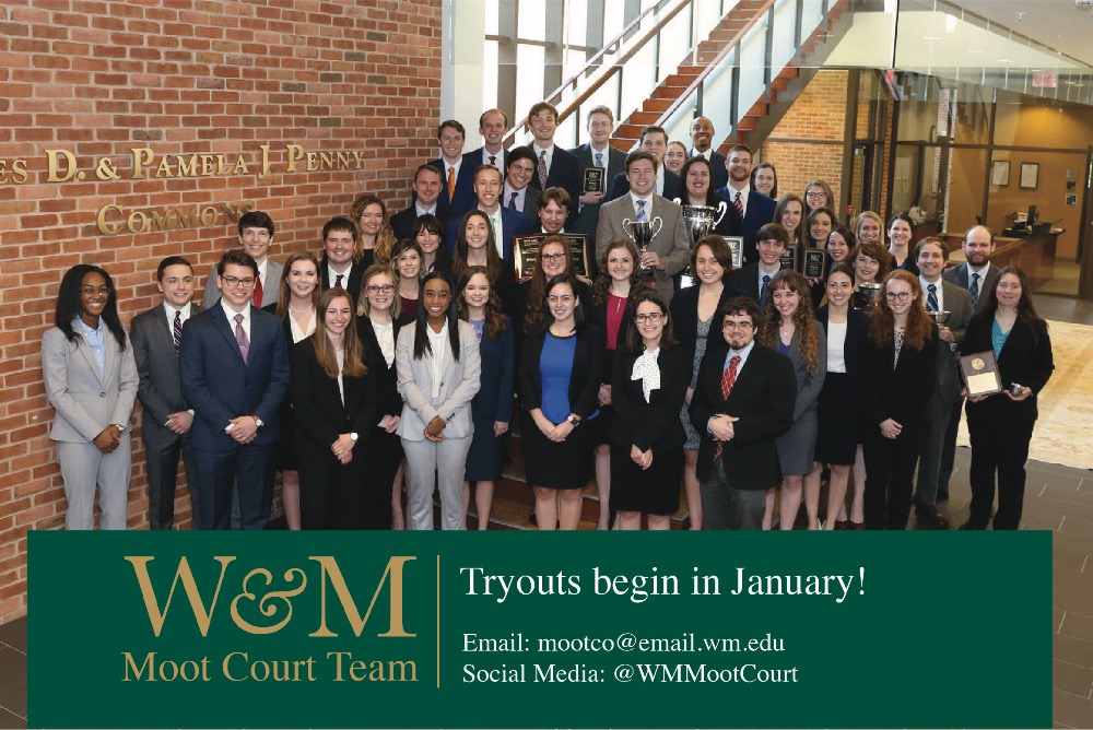 Picture of the Moot Court team in the lobby of the law school. The text says: