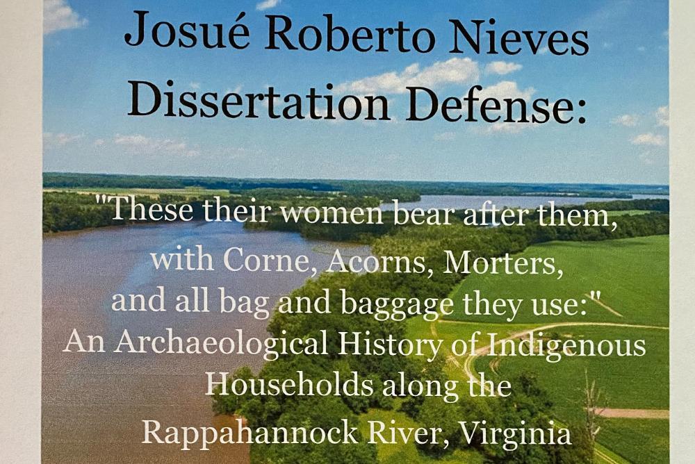 dissertation poster, text, river, grass