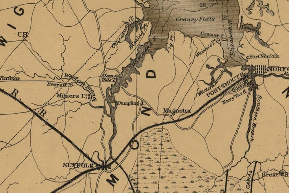 old map, yellow, black, nansemond river